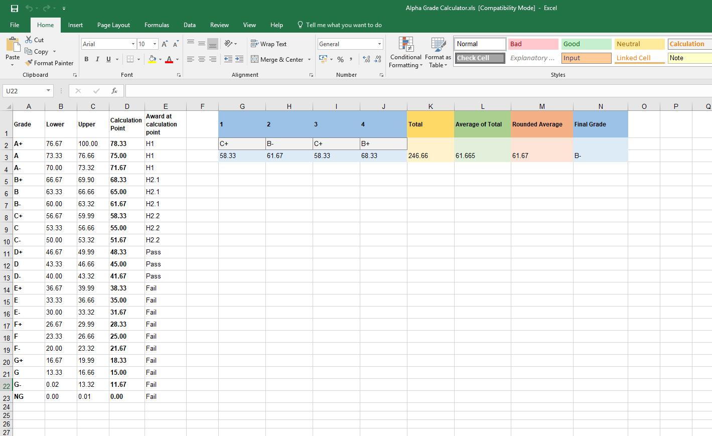 Gradey Alpha Grade Average Calculator as a MS Excel Spreadsheet